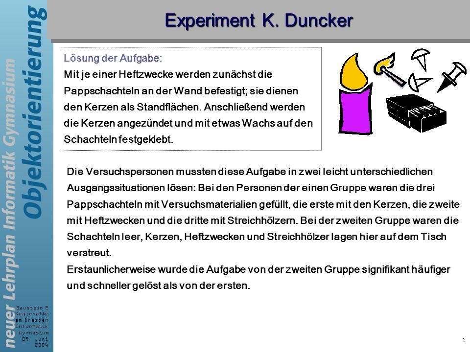 Baustein 2 Regionalte am Dresden Informatik Gymnasium 09. Juni 2004 2 Experiment K. Duncker Lösung der Aufgabe: Mit je einer Heftzwecke werden zunächs