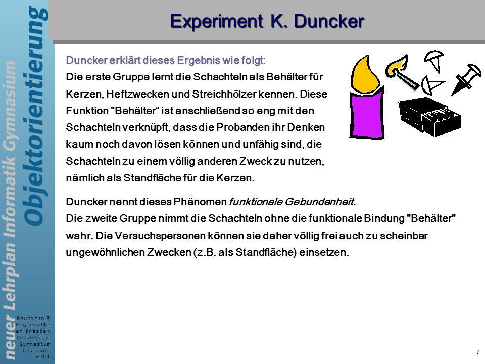 Baustein 2 Regionalte am Dresden Informatik Gymnasium 09. Juni 2004 3 Experiment K. Duncker Duncker erklärt dieses Ergebnis wie folgt Duncker erklärt