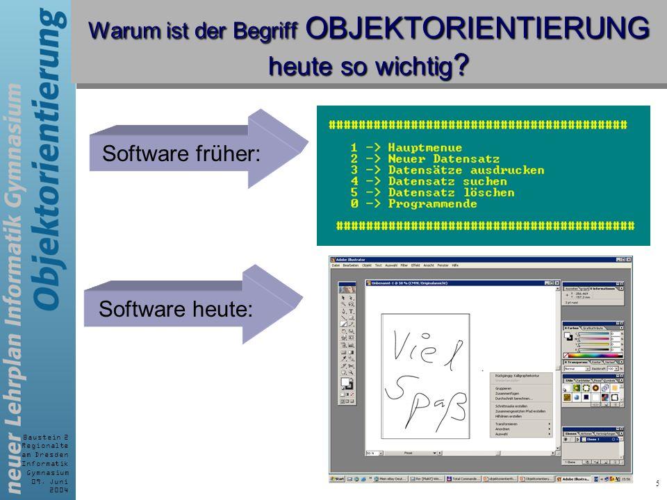 Baustein 2 Regionalte am Dresden Informatik Gymnasium 09. Juni 2004 5 Warum ist der Begriff OBJEKTORIENTIERUNG heute so wichtig ? Software früher: Sof
