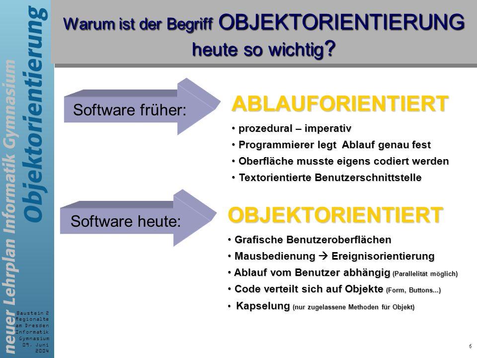 Baustein 2 Regionalte am Dresden Informatik Gymnasium 09. Juni 2004 6 Warum ist der Begriff OBJEKTORIENTIERUNG heute so wichtig ? Software früher: ABL