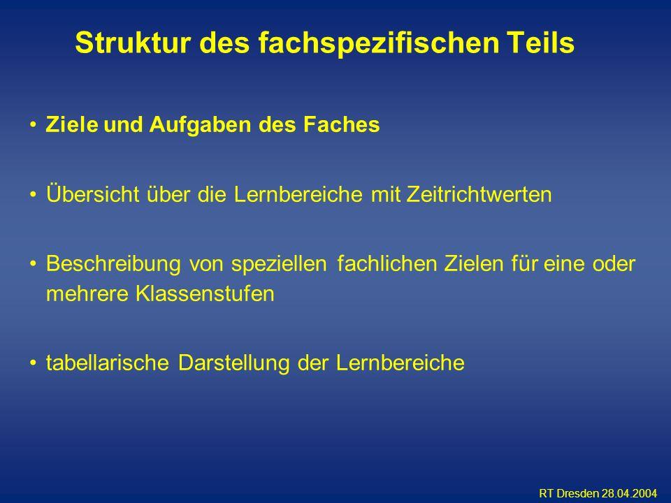 RT Dresden 28.04.2004 Ziele und Aufgaben des Faches Übersicht über die Lernbereiche mit Zeitrichtwerten Beschreibung von speziellen fachlichen Zielen