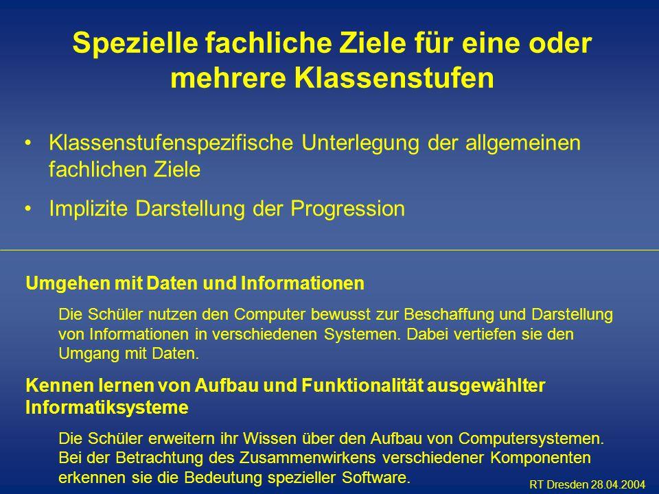 RT Dresden 28.04.2004 Klassenstufenspezifische Unterlegung der allgemeinen fachlichen Ziele Implizite Darstellung der Progression Umgehen mit Daten un
