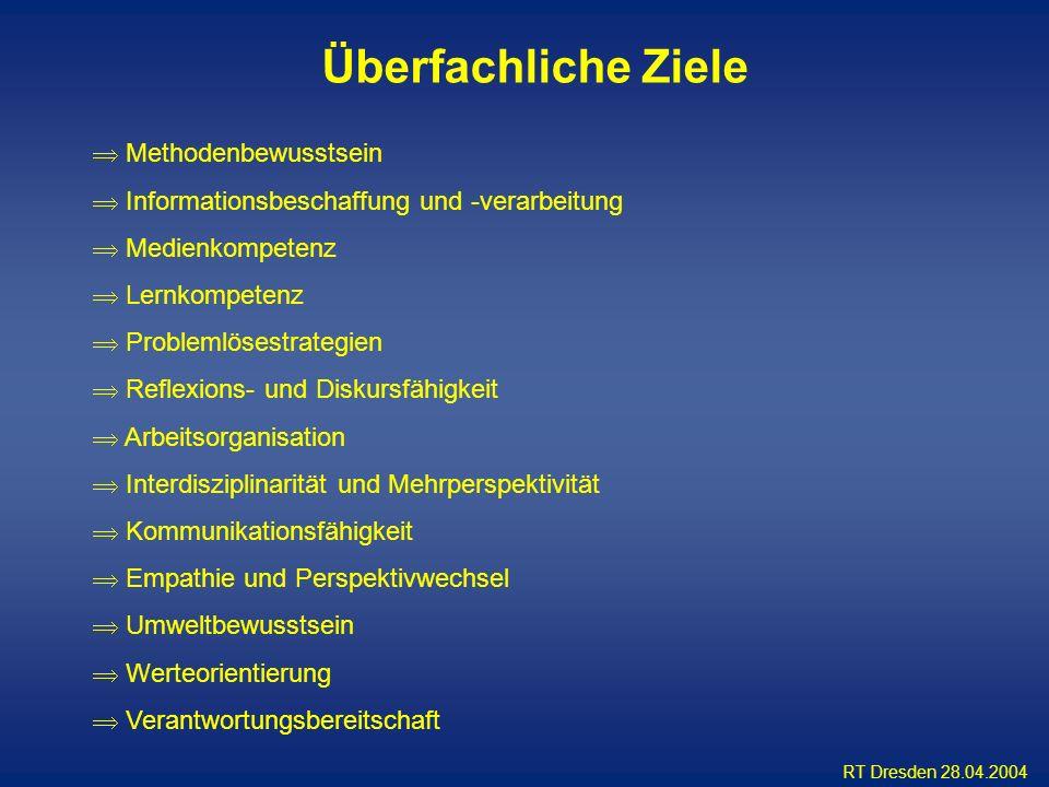 RT Dresden 28.04.2004 Methodenbewusstsein Informationsbeschaffung und -verarbeitung Medienkompetenz Lernkompetenz Problemlösestrategien Reflexions- un