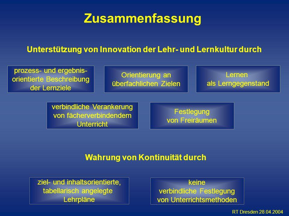 RT Dresden 28.04.2004 Wahrung von Kontinuität durch Unterstützung von Innovation der Lehr- und Lernkultur durch prozess- und ergebnis- orientierte Bes
