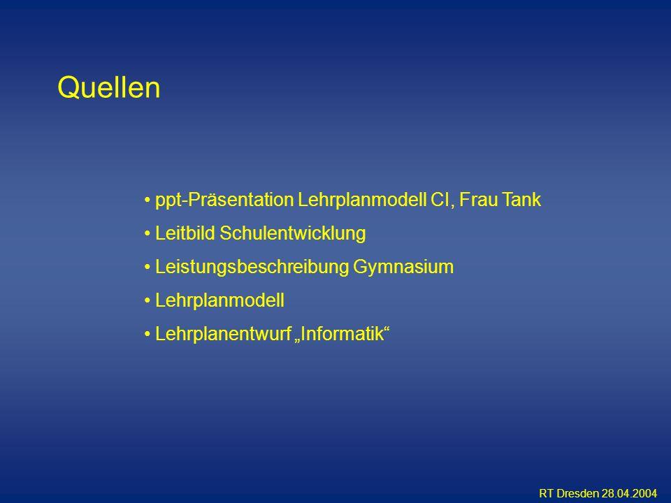 RT Dresden 28.04.2004 Quellen ppt-Präsentation Lehrplanmodell CI, Frau Tank Leitbild Schulentwicklung Leistungsbeschreibung Gymnasium Lehrplanmodell L