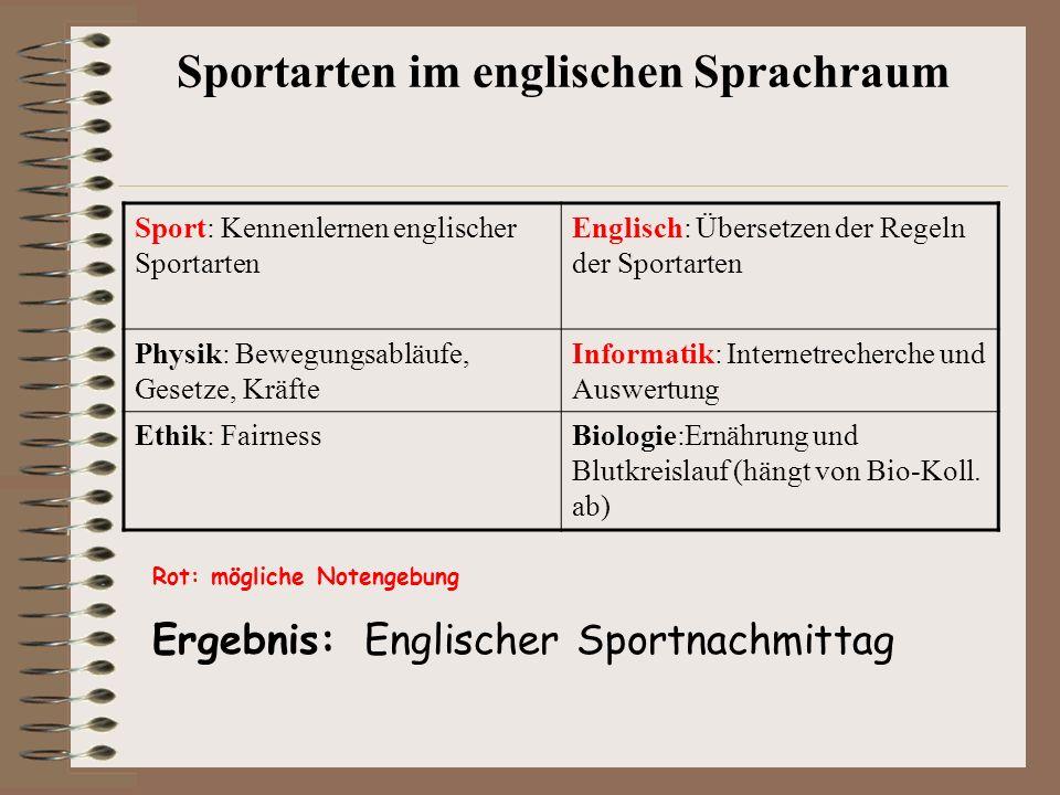 Sport: Kennenlernen englischer Sportarten Englisch: Übersetzen der Regeln der Sportarten Physik: Bewegungsabläufe, Gesetze, Kräfte Informatik: Interne