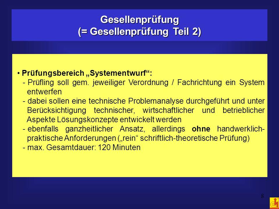 8 Gesellenprüfung (= Gesellenprüfung Teil 2) Prüfungsbereich Systementwurf: - Prüfling soll gem. jeweiliger Verordnung / Fachrichtung ein System entwe
