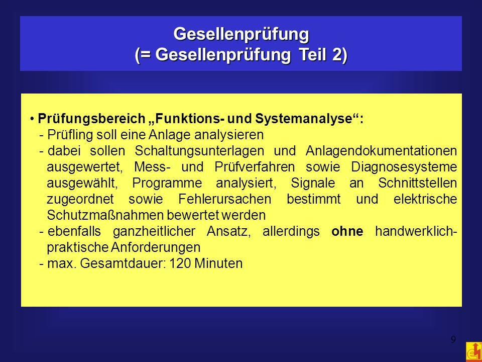 9 Gesellenprüfung (= Gesellenprüfung Teil 2) Prüfungsbereich Funktions- und Systemanalyse: - Prüfling soll eine Anlage analysieren - dabei sollen Scha