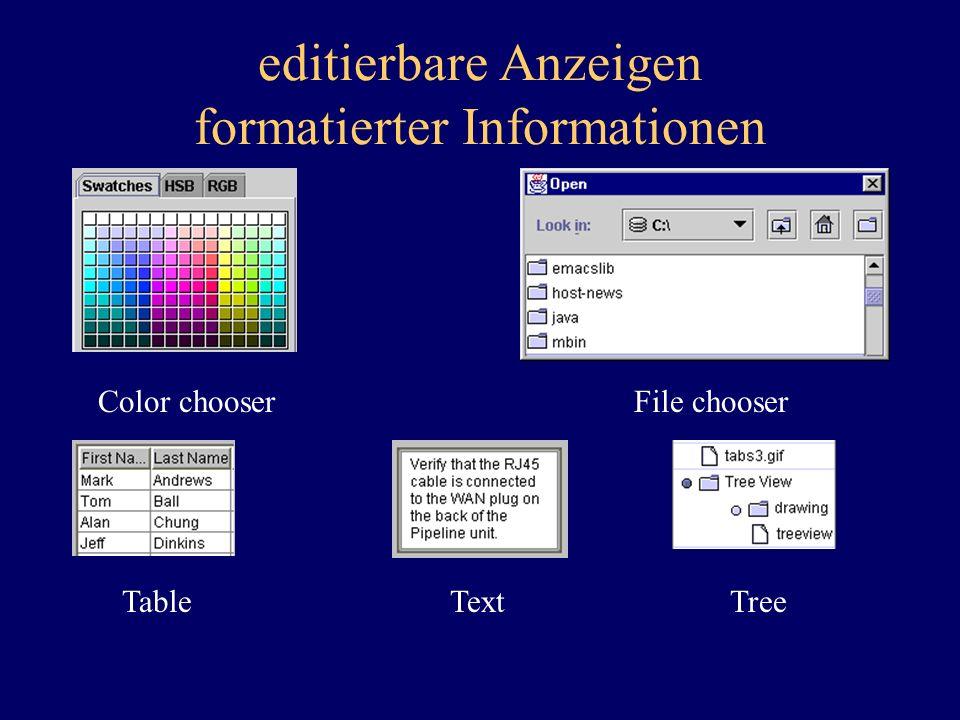 editierbare Anzeigen formatierter Informationen Color chooserFile chooser TableTextTree