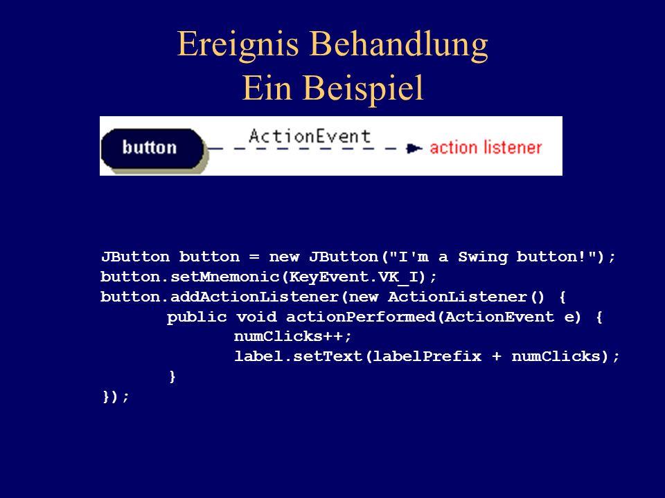 Ereignis Behandlung Ein Beispiel JButton button = new JButton(