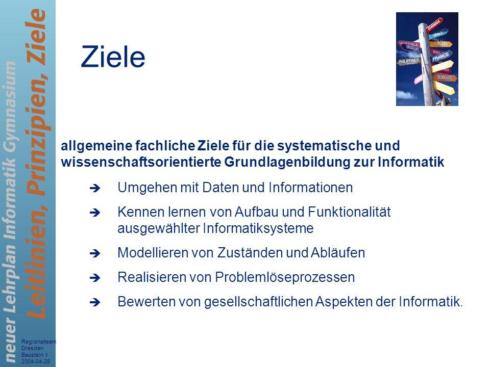 Regionalteam Dresden Baustein 1 2004-04-28 3 allgemeine fachliche Ziele für die systematische und wissenschaftsorientierte Grundlagenbildung zur Infor