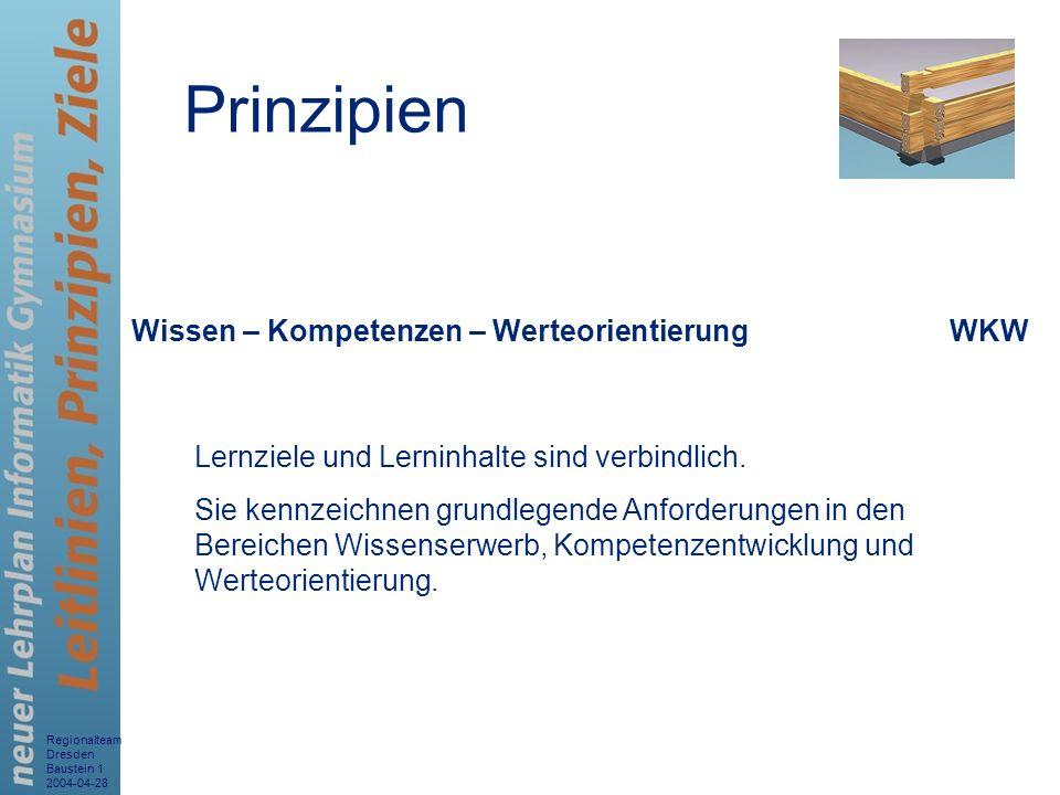 Regionalteam Dresden Baustein 1 2004-04-28 5 Wissen – Kompetenzen – WerteorientierungWKW Lernziele und Lerninhalte sind verbindlich. Sie kennzeichnen