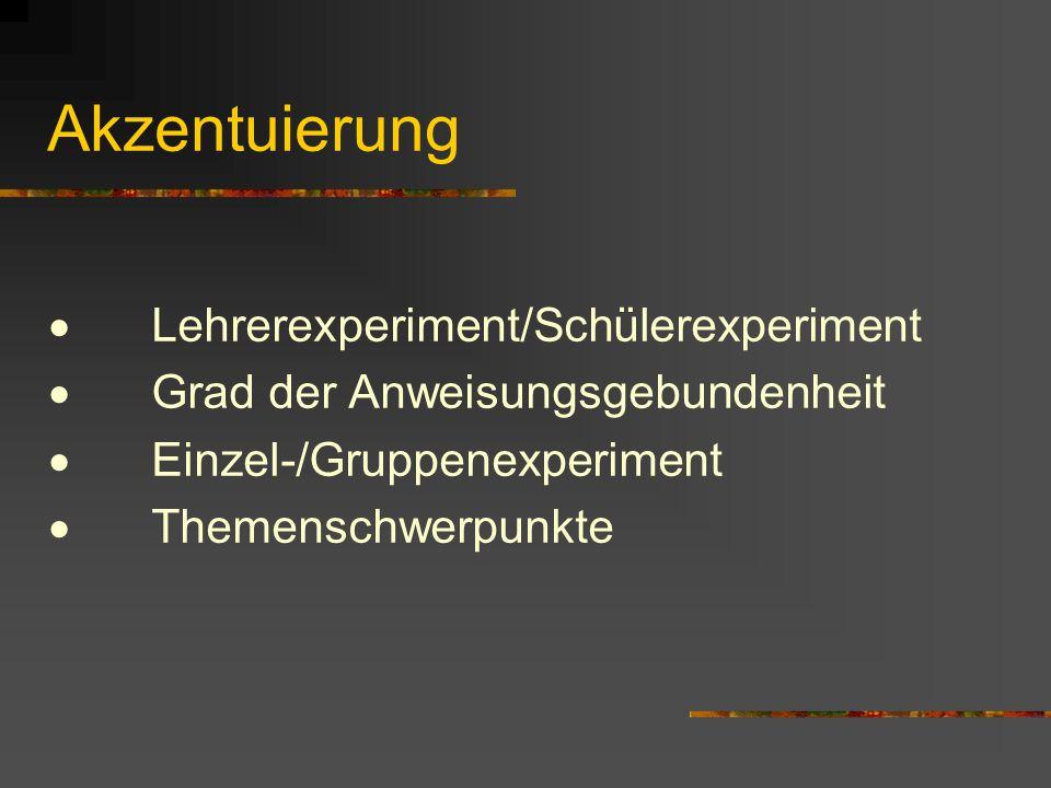Akzentuierung Lehrerexperiment/Schülerexperiment Grad der Anweisungsgebundenheit Einzel-/Gruppenexperiment Themenschwerpunkte
