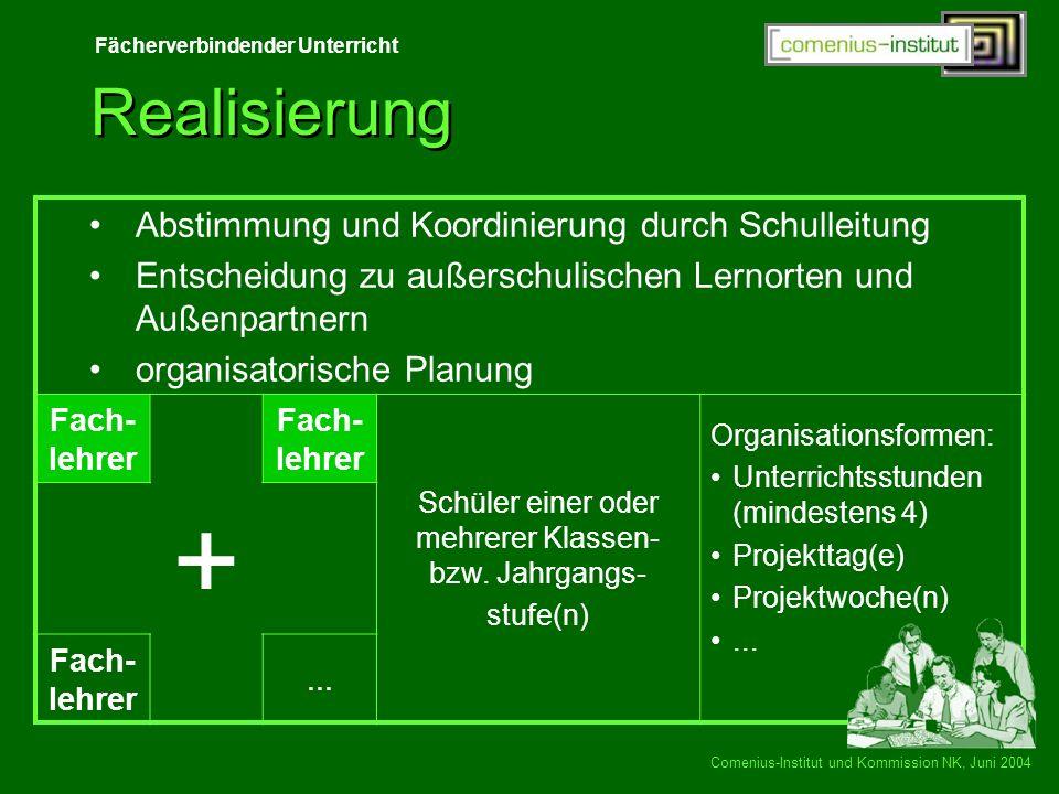 Fächerverbindender Unterricht Comenius-Institut und Kommission NK, Juni 2004 Realisierung Abstimmung und Koordinierung durch Schulleitung Entscheidung