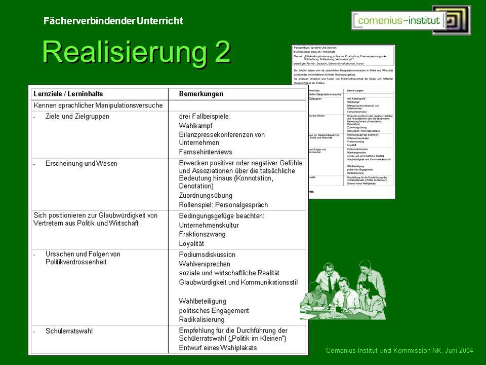 Fächerverbindender Unterricht Comenius-Institut und Kommission NK, Juni 2004 Realisierung 2
