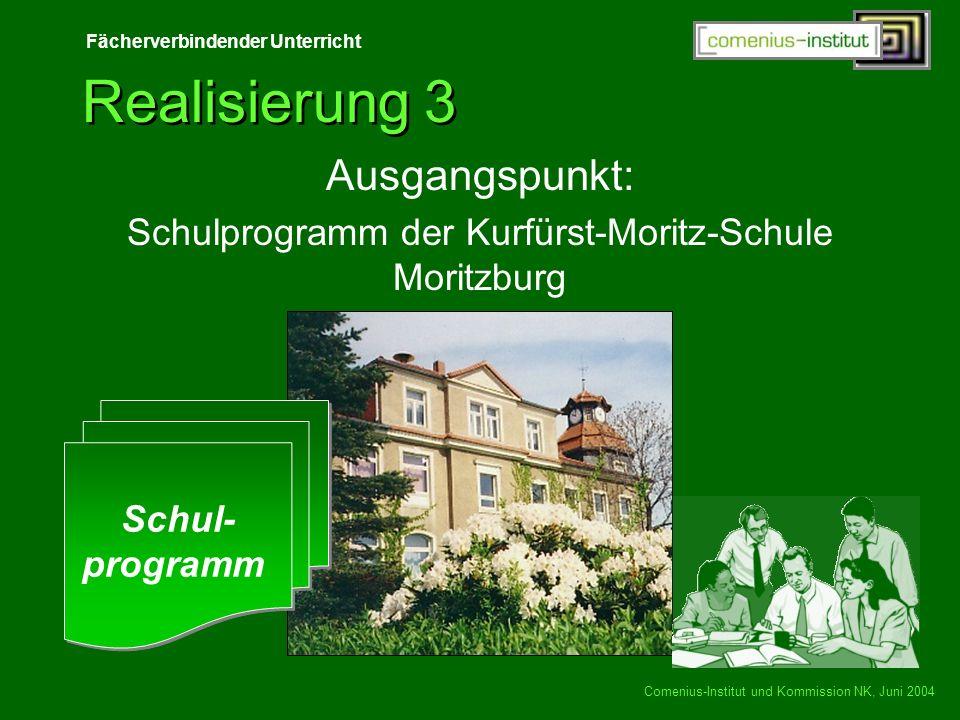Fächerverbindender Unterricht Comenius-Institut und Kommission NK, Juni 2004 Realisierung 3 Ausgangspunkt: Schulprogramm der Kurfürst-Moritz-Schule Mo