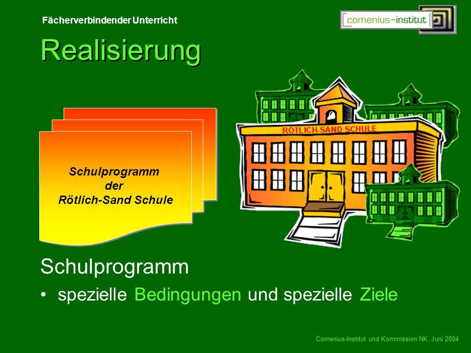 Fächerverbindender Unterricht Comenius-Institut und Kommission NK, Juni 2004 Realisierung Schulprogramm spezielle Bedingungen und spezielle Ziele Schu