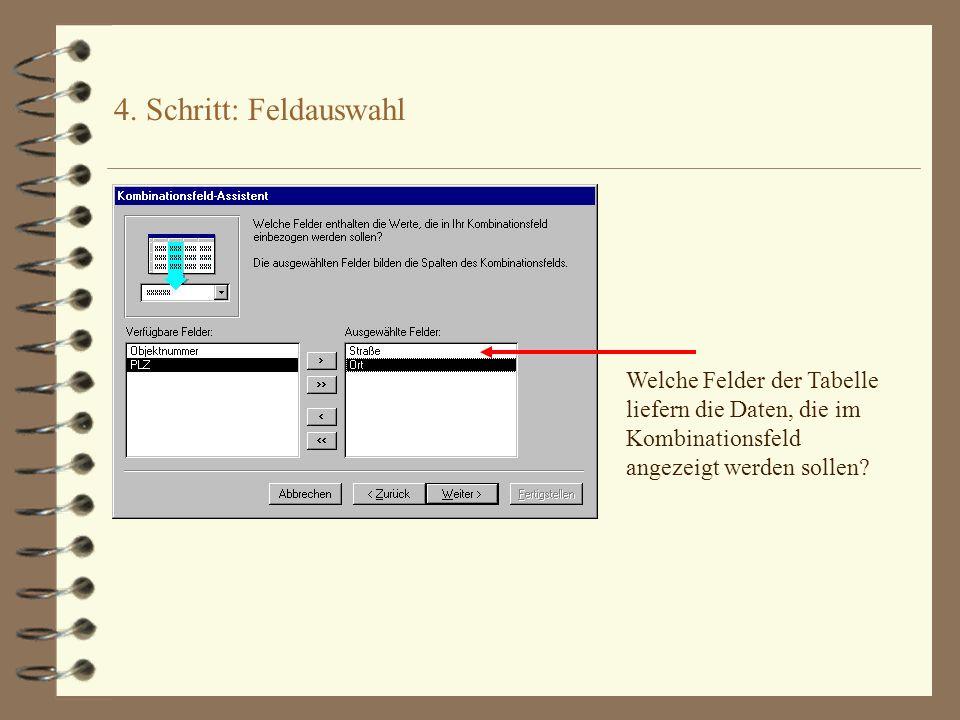 4. Schritt: Feldauswahl Welche Felder der Tabelle liefern die Daten, die im Kombinationsfeld angezeigt werden sollen?