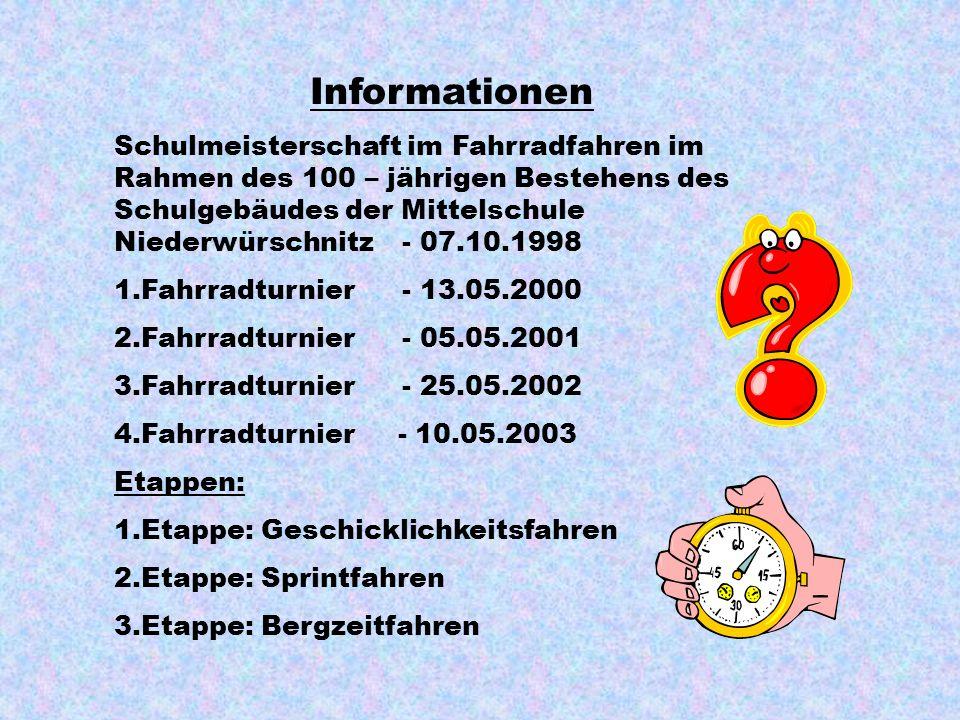 Informationen Schulmeisterschaft im Fahrradfahren im Rahmen des 100 – jährigen Bestehens des Schulgebäudes der Mittelschule Niederwürschnitz- 07.10.1998 1.Fahrradturnier- 13.05.2000 2.Fahrradturnier- 05.05.2001 3.Fahrradturnier- 25.05.2002 4.Fahrradturnier - 10.05.2003 Etappen: 1.Etappe: Geschicklichkeitsfahren 2.Etappe: Sprintfahren 3.Etappe: Bergzeitfahren