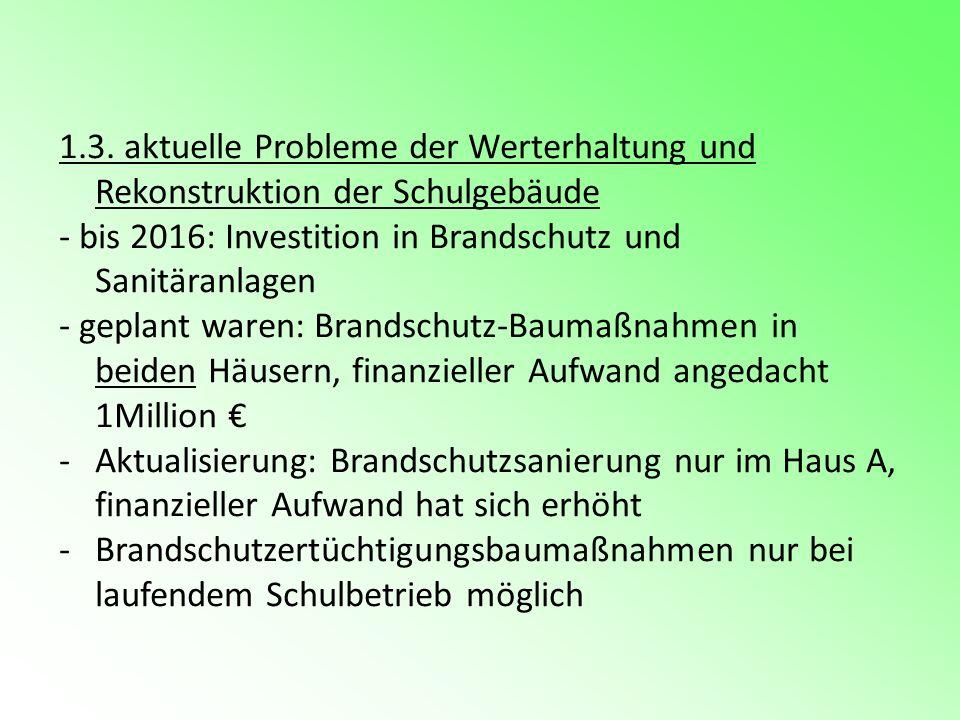 1.3. aktuelle Probleme der Werterhaltung und Rekonstruktion der Schulgebäude - bis 2016: Investition in Brandschutz und Sanitäranlagen - geplant waren