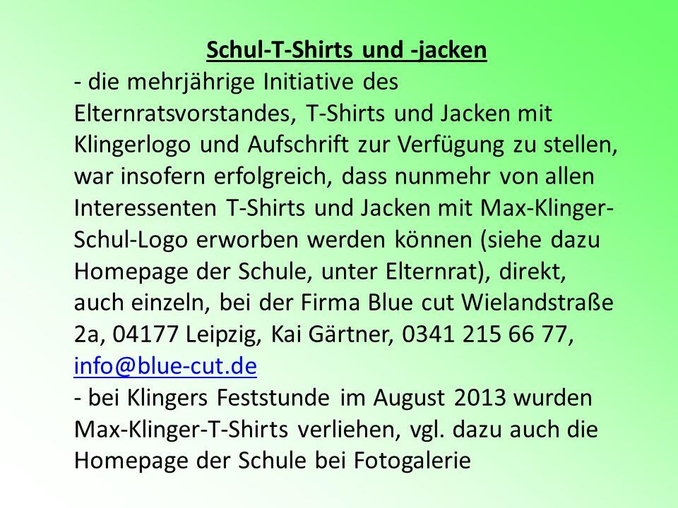 Schul-T-Shirts und -jacken - die mehrjährige Initiative des Elternratsvorstandes, T-Shirts und Jacken mit Klingerlogo und Aufschrift zur Verfügung zu