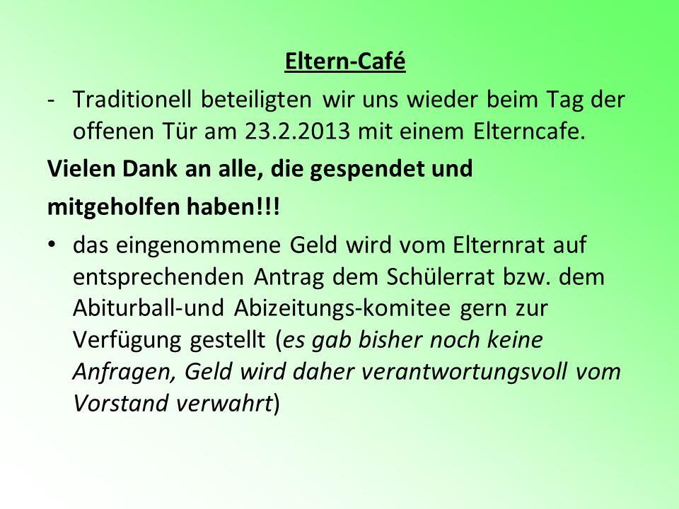 Eltern-Café -Traditionell beteiligten wir uns wieder beim Tag der offenen Tür am 23.2.2013 mit einem Elterncafe. Vielen Dank an alle, die gespendet un