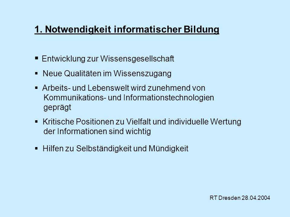 RT Dresden 28.04.2004 1. Notwendigkeit informatischer Bildung Entwicklung zur Wissensgesellschaft Neue Qualitäten im Wissenszugang Arbeits- und Lebens