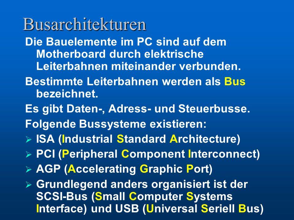 BIOS Das BIOS – Basic Input Output System übernimmt nach dem Einschalten des PC die Kontrolle. Es überprüft den Anschluss und die Funktion bestimmter
