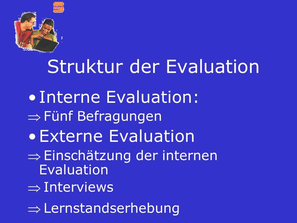 Struktur der Evaluation Interne Evaluation: Fünf Befragungen Externe Evaluation Einschätzung der internen Evaluation Interviews Lernstandserhebung