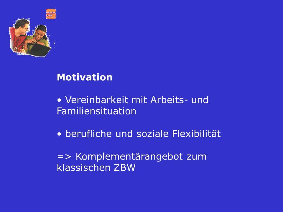 Motivation Vereinbarkeit mit Arbeits- und Familiensituation berufliche und soziale Flexibilität => Komplementärangebot zum klassischen ZBW