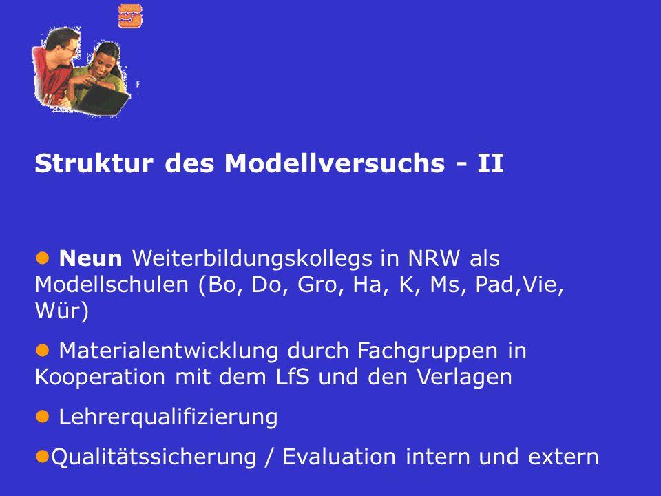 Struktur des Modellversuchs - II Neun Weiterbildungskollegs in NRW als Modellschulen (Bo, Do, Gro, Ha, K, Ms, Pad,Vie, Wür) Materialentwicklung durch