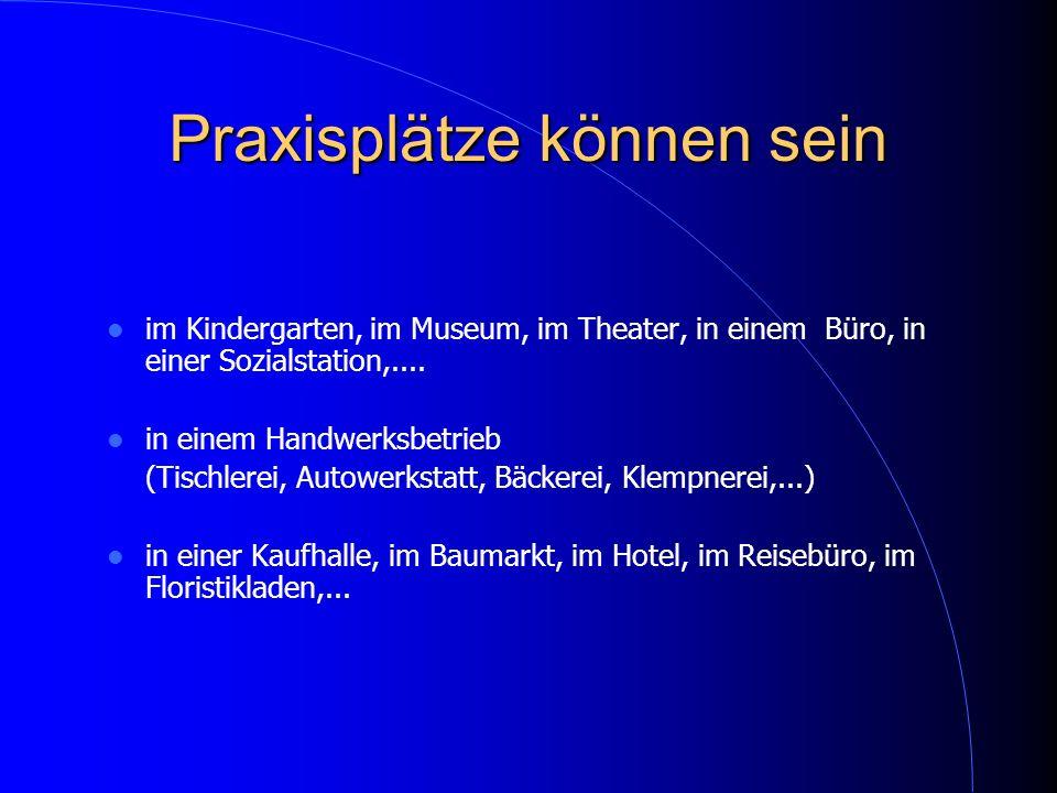 Praxisplätze können sein im Kindergarten, im Museum, im Theater, in einem Büro, in einer Sozialstation,.... in einem Handwerksbetrieb (Tischlerei, Aut