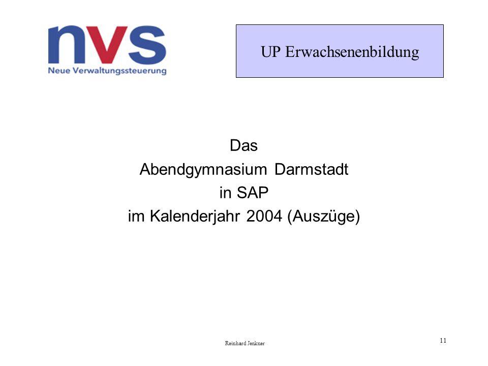 UP Erwachsenenbildung Reinhard Jenkner 11 Das Abendgymnasium Darmstadt in SAP im Kalenderjahr 2004 (Auszüge)