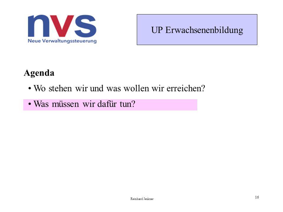 UP Erwachsenenbildung Reinhard Jenkner 16 Agenda Was müssen wir dafür tun.