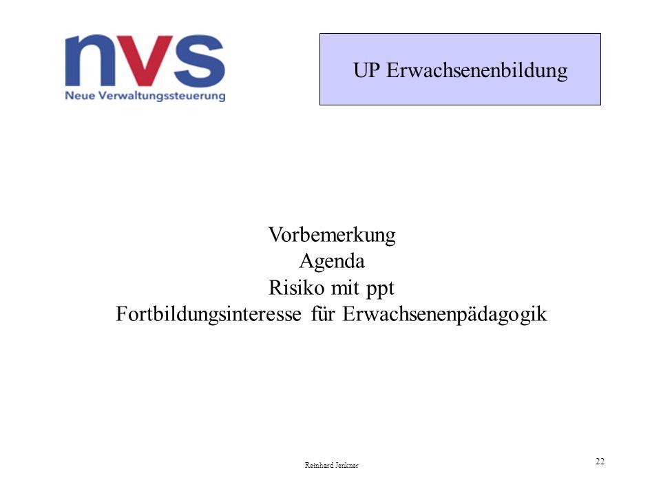 UP Erwachsenenbildung Reinhard Jenkner 22 Vorbemerkung Agenda Risiko mit ppt Fortbildungsinteresse für Erwachsenenpädagogik