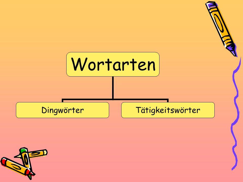Wortarten DingwörterTätigkeitswörter