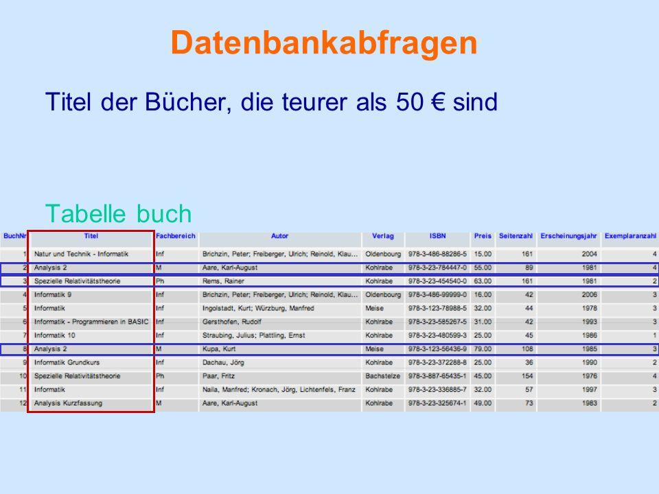 Datenbankabfragen Titel der Bücher, die teurer als 50 sind Tabelle buch