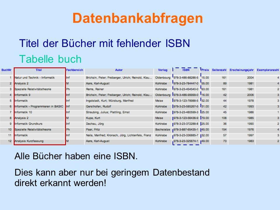 Datenbankabfragen Titel der Bücher mit fehlender ISBN Tabelle buch Alle Bücher haben eine ISBN.