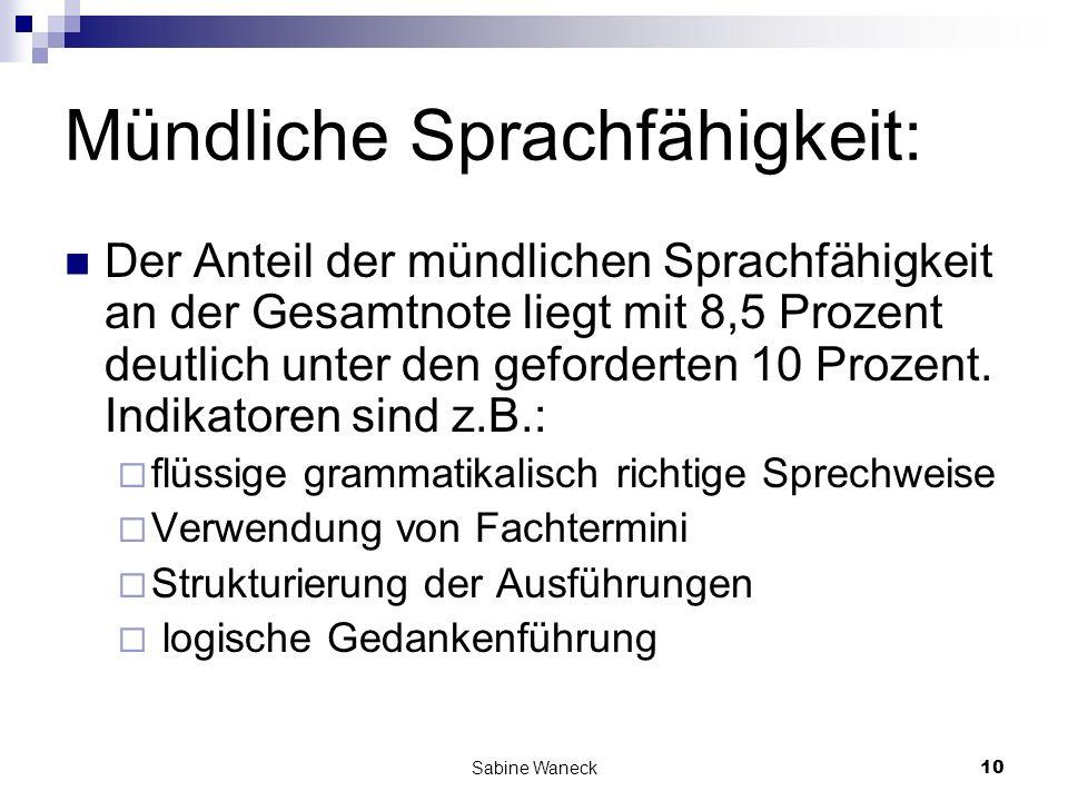 Sabine Waneck10 Mündliche Sprachfähigkeit: Der Anteil der mündlichen Sprachfähigkeit an der Gesamtnote liegt mit 8,5 Prozent deutlich unter den geford