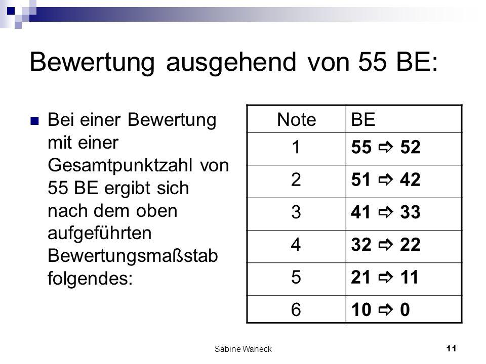 Sabine Waneck11 Bewertung ausgehend von 55 BE: Bei einer Bewertung mit einer Gesamtpunktzahl von 55 BE ergibt sich nach dem oben aufgeführten Bewertun