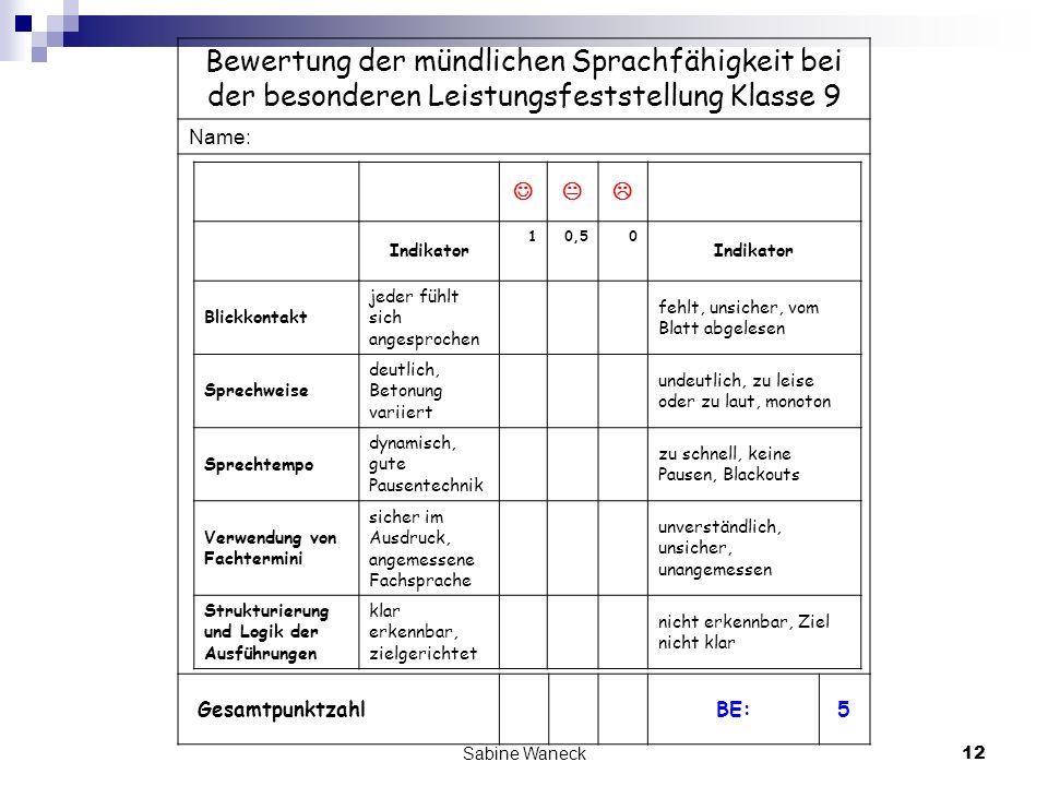 Sabine Waneck12 Bewertung der mündlichen Sprachfähigkeit bei der besonderen Leistungsfeststellung Klasse 9 Name: GesamtpunktzahlBE:5 Indikator 10,50 I