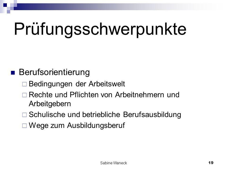 Sabine Waneck19 Prüfungsschwerpunkte Berufsorientierung Bedingungen der Arbeitswelt Rechte und Pflichten von Arbeitnehmern und Arbeitgebern Schulische