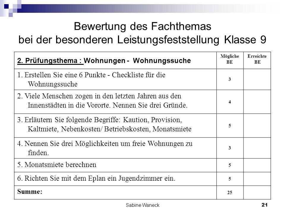 Sabine Waneck21 Bewertung des Fachthemas bei der besonderen Leistungsfeststellung Klasse 9 2. Prüfungsthema : Wohnungen - Wohnungssuche Mögliche BE Er