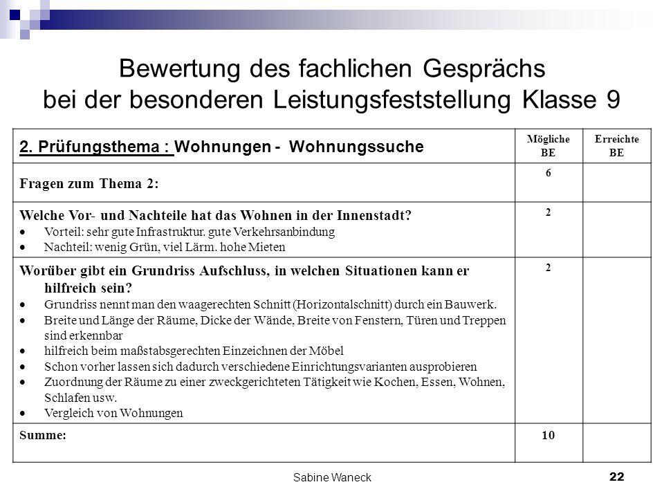 Sabine Waneck22 Bewertung des fachlichen Gesprächs bei der besonderen Leistungsfeststellung Klasse 9 2. Prüfungsthema : Wohnungen - Wohnungssuche Mögl