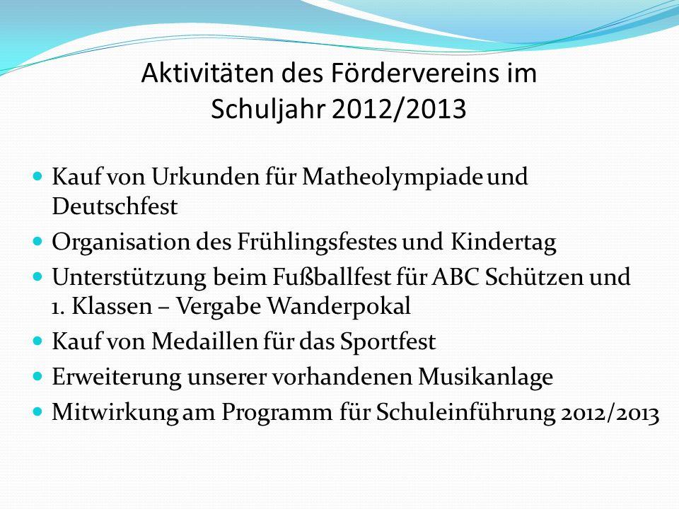 Aktivitäten des Fördervereins im Schuljahr 2012/2013 Kauf von Urkunden für Matheolympiade und Deutschfest Organisation des Frühlingsfestes und Kindertag Unterstützung beim Fußballfest für ABC Schützen und 1.