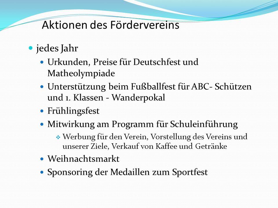 Aktionen des Fördervereins jedes Jahr Urkunden, Preise für Deutschfest und Matheolympiade Unterstützung beim Fußballfest für ABC- Schützen und 1.