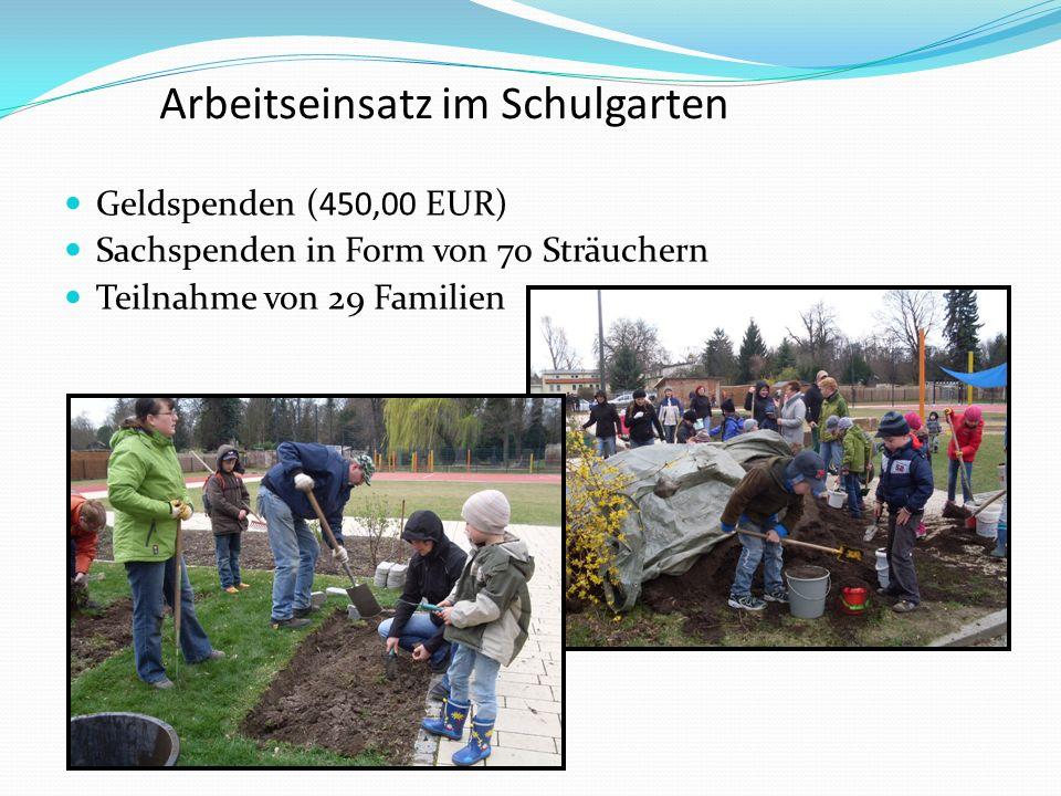 Arbeitseinsatz im Schulgarten Geldspenden (450,00 EUR) Sachspenden in Form von 70 Sträuchern Teilnahme von 29 Familien