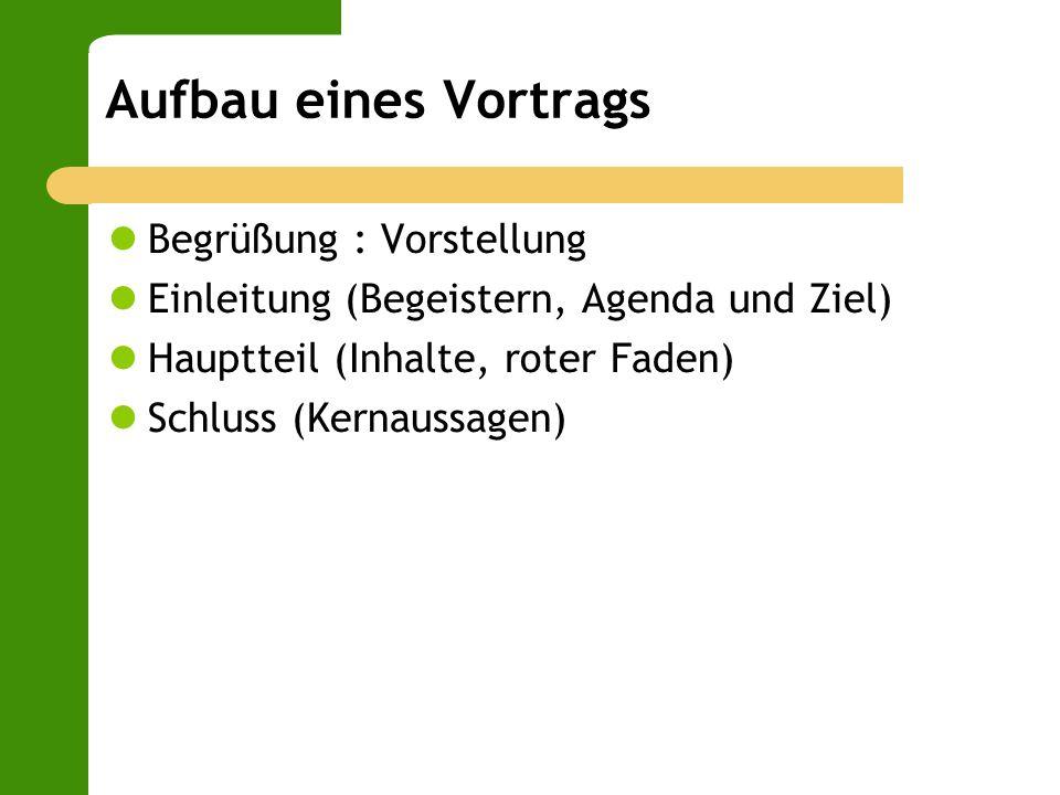 Aufbau eines Vortrags Begrüßung : Vorstellung Einleitung (Begeistern, Agenda und Ziel) Hauptteil (Inhalte, roter Faden) Schluss (Kernaussagen)