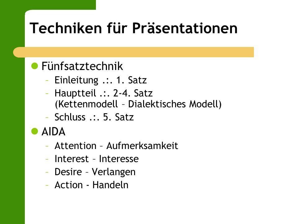 Techniken für Präsentationen Fünfsatztechnik –Einleitung.:. 1. Satz –Hauptteil.:. 2-4. Satz (Kettenmodell – Dialektisches Modell) –Schluss.:. 5. Satz