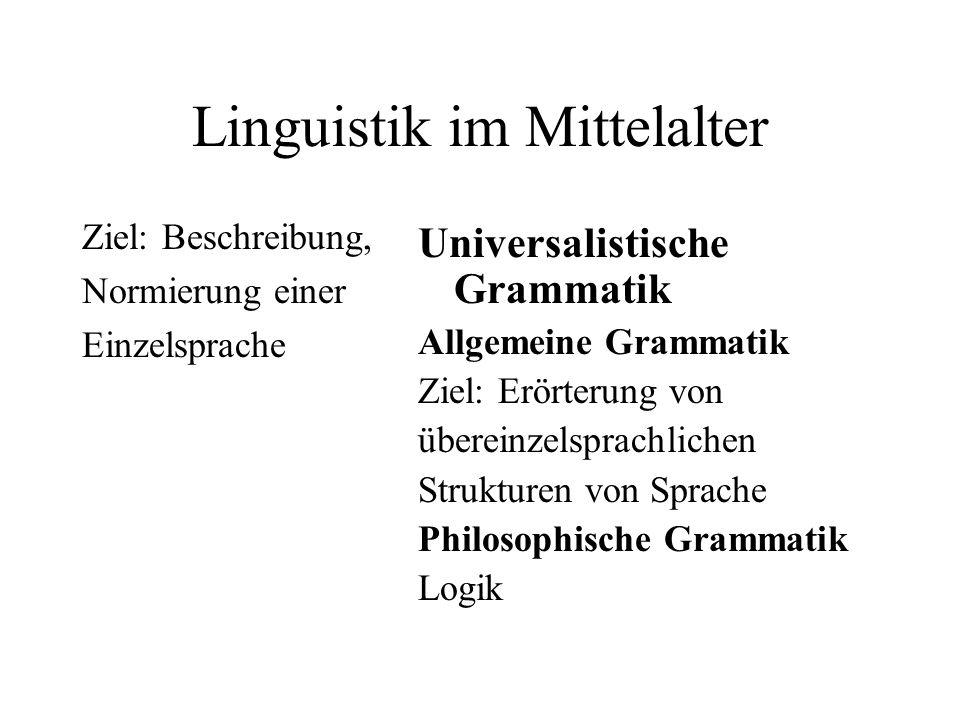 Linguistik im Mittelalter Ziel: Beschreibung, Normierung einer Einzelsprache Universalistische Grammatik Allgemeine Grammatik Ziel: Erörterung von übe